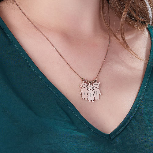 Rose Gold Plated Mother's Necklace with Children Charms - 5