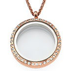 Round Locket in Rose Gold Plating with Crystals