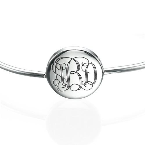 Round Monogram Bangle Bracelet in Silver - 1