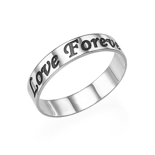Promise Ring - Rounded Polished Script Sterling Silver Engraved Ring