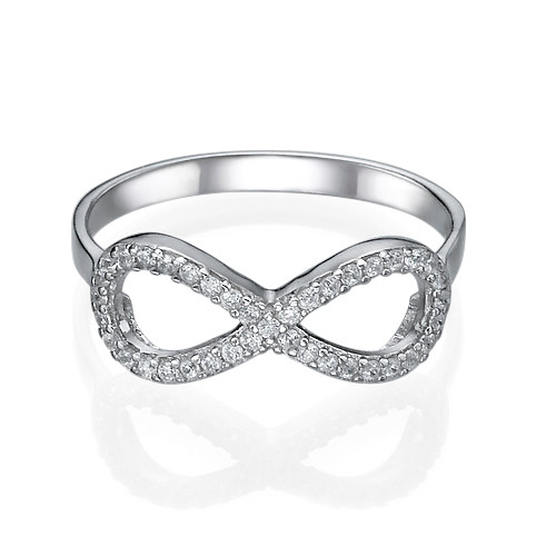Silver Cubic Zirconia Encrusted Infinity Ring - 1