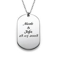 Silver Script Font Dog Tag Necklace