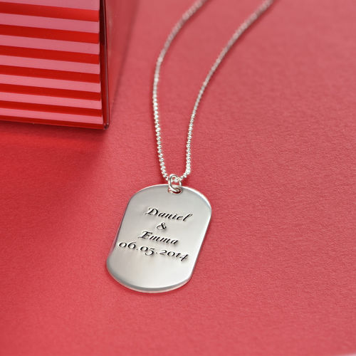 Silver Script Font Dog Tag Necklace - 3