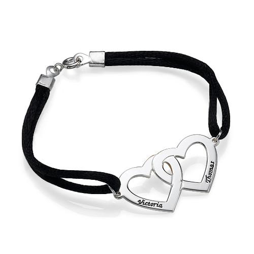 Silver Couples Heart in Heart Bracelet