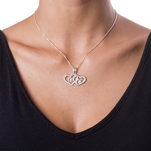 Silver Couples Hearts Love Necklace - 1