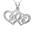 Silver Couples Hearts Love Necklace