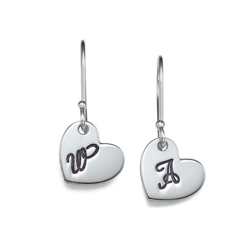 Silver Dangling Heart Initial Earrings