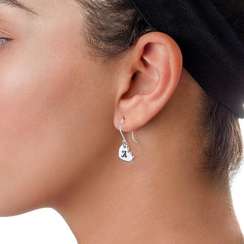 Silver Dangling Heart Initial Earrings - 1