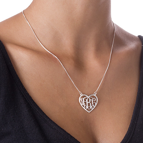 Silver Heart Initial Necklace - 1