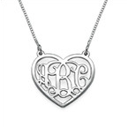Silver Heart Initial Necklace