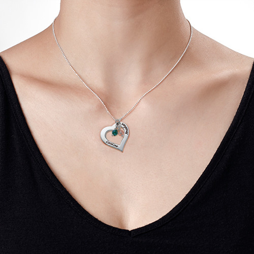 Silver Hollow Heart Necklace with Birthstones - 1