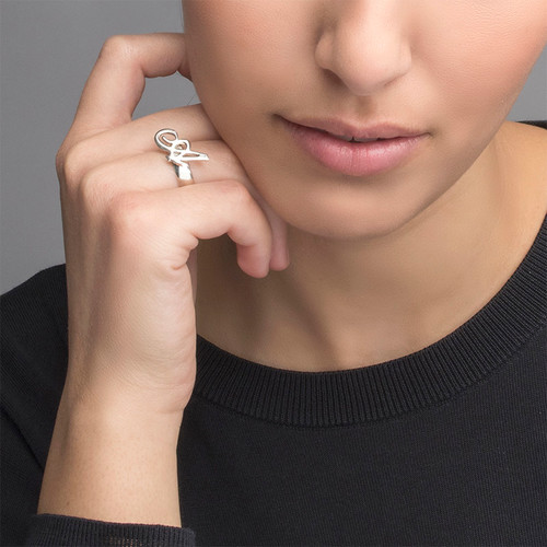 Silver Initial Ring - 1