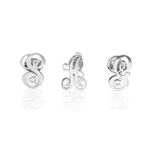 Silver Initial Stud Earrings - 1