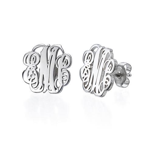 Silver Monogram Stud Earrings