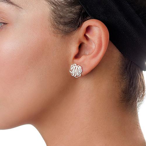 Silver Monogram Stud Earrings - 1