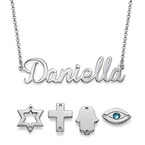 Silver Name Necklace with Charm