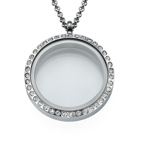 Silver Round Locket with Crystals