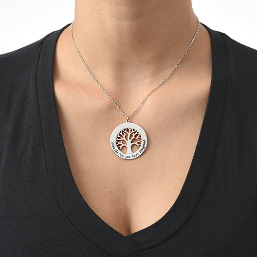 Silver Tree of Life Necklace with Engraving - 1