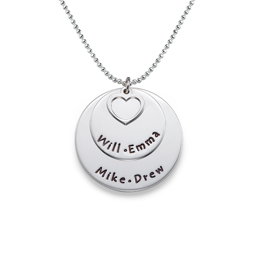 Silver Two Disc Family Necklace