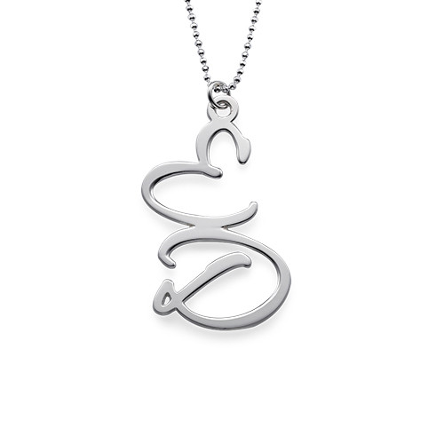 Sterling Silver Two Initials Necklace - 1