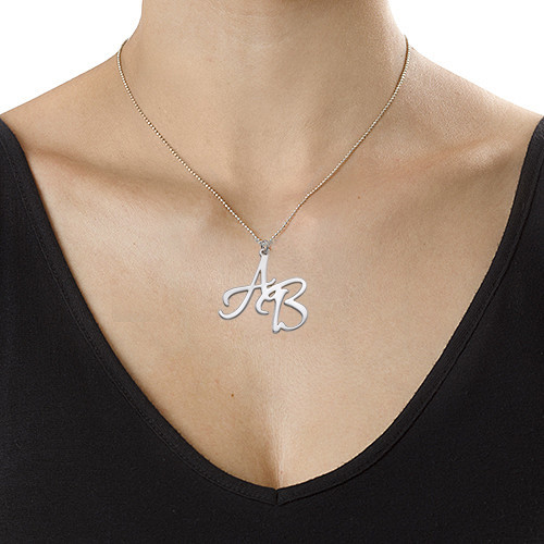 Sterling Silver Two Initials Necklace - 2