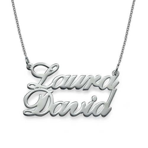 Silver Two Name Pendant Necklace