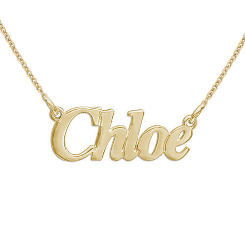 Small 18ct Gold-Plated Silver Nameplate Necklace