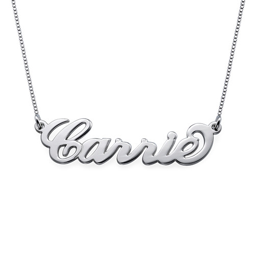 """Small Silver """"Carrie"""" Style Name Necklace"""