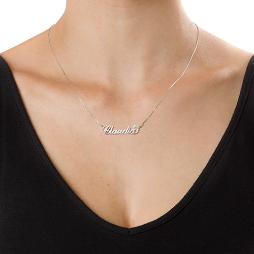 "Small Silver ""Carrie"" Style Name Necklace - 1"