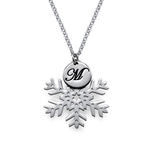 Snowflake Necklace with Initial Pendant in Silver - 1