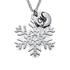 Snowflake Necklace with Initial Pendant in Silver