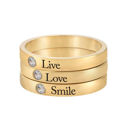 Stackable Birthstone Name Ring - 18ct Gold Plated - 3