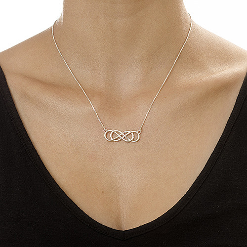 Sterling Silver Double Infinity Necklace - 1
