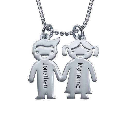 Sterling Silver Kids Holding Hands Necklace