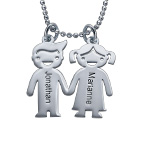 Sterling Silver Kids Holding Hands Necklace