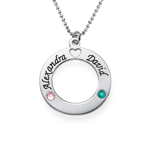 Silver Circle Pendant with Swarovski Birthstones
