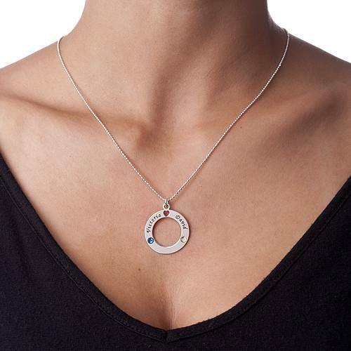 Silver Circle Pendant with Swarovski Birthstones - 1