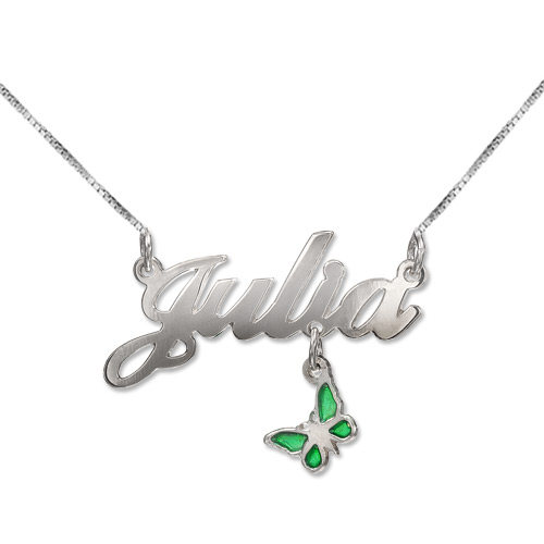 Sterling Silver Dangling Charm Name Necklace - 1