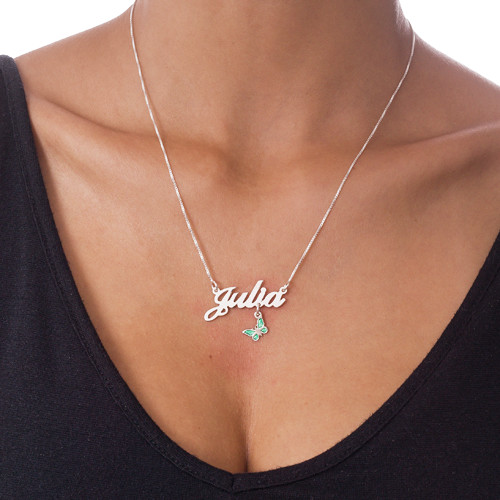 Sterling Silver Dangling Charm Name Necklace - 3