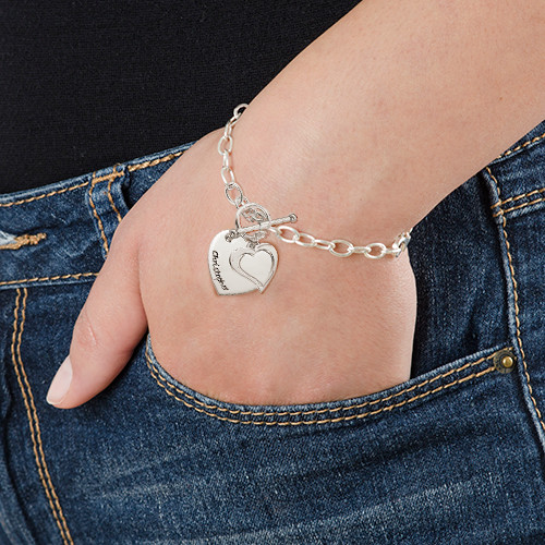 Sterling Silver Double Heart Charm Bracelet - 2
