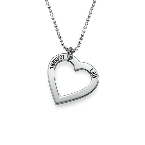 Sterling Silver Engraved Heart Necklacee
