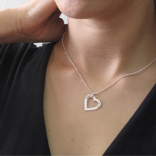Sterling Silver Engraved Heart Necklace - 2