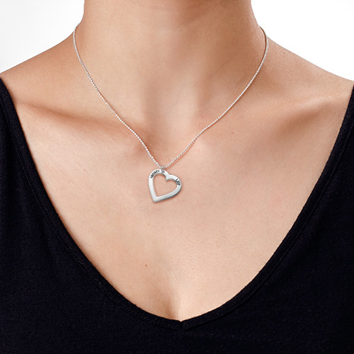 Sterling Silver Engraved Heart Necklace - 3