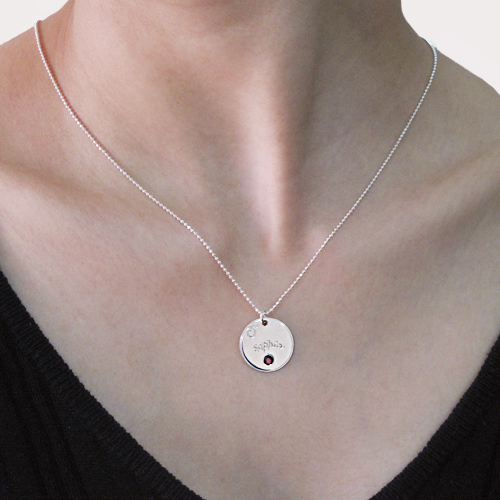 Silver Engraved Disc Necklace with Birthstone - 2