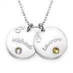Silver Engraved Disc Necklace with Birthstone