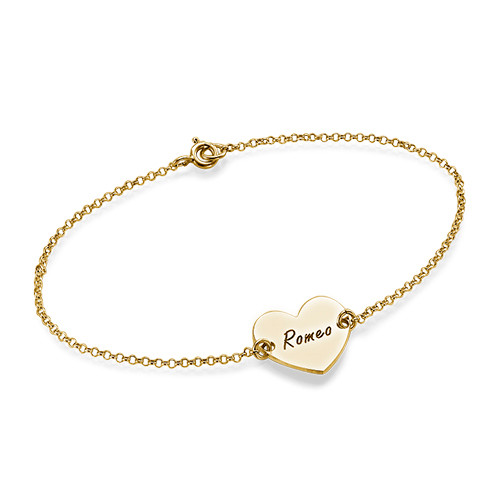 Sterling Silver Engraved Heart Couples Bracelet - 4