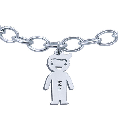 Sterling Silver Engraved Kids Bracelet - 2