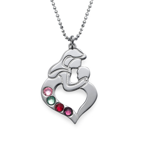 Mother's Child Necklace with Birthstones