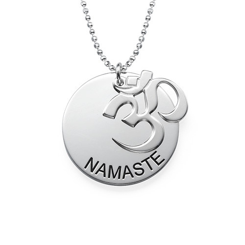 Sterling Silver Engraved Om Necklace - 1