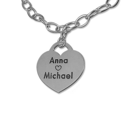Sterling Silver Heart Charm Bracelet - 1